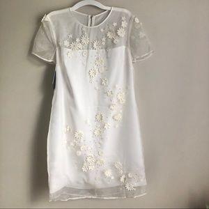 Ted Baker Embellished Silk Organza White Dress 6